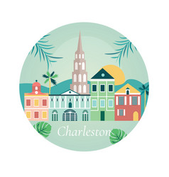 welcome to charlestone poster with landmarks vector image