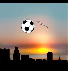 yekaterinburg skyline with football ball vector image