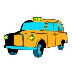 Yellow taxi icon cartoon vector
