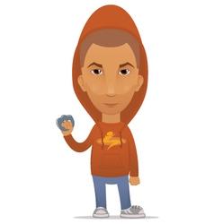 Cartoon hooligan with a knuckleduster vector image vector image