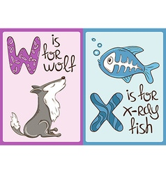 Children Alphabet with Funny Animals Wolf and vector image vector image