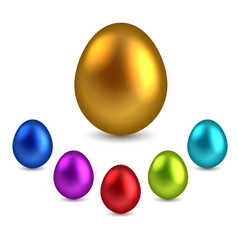 set of color glossy eggs isolated on white vector image