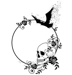 skull raven and roses frame vector image