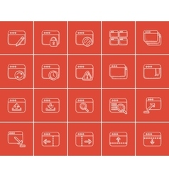 Technology sketch icon set vector image vector image