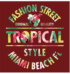 tropical style miami fashion street vector image vector image