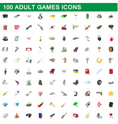 100 adult games icons set cartoon style vector image vector image