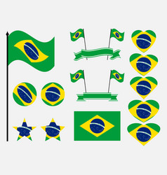 brazil flag set collection of symbols flag vector image vector image