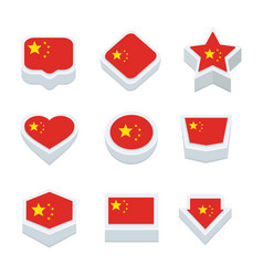 china flags icons and button set nine styles vector image