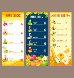 colorful natural juices menu template vector image vector image