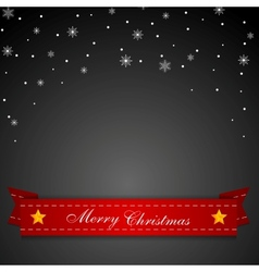 Dark Christmas background with red ribbon vector image