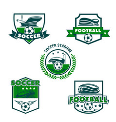 Football stadium with soccer ball shield badge vector