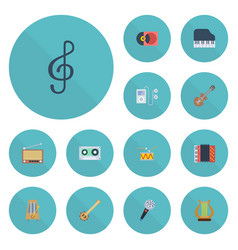 flat icons banjo tape harmonica and other vector image vector image