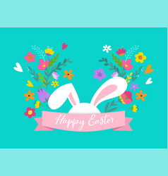 happy easter bunny with flowers design vector image vector image