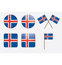 iceland buttons vector image vector image