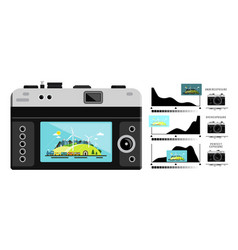 photo camera back side with histogram graphs vector image