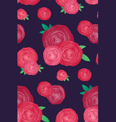 seamless texture with roses on a dark background vector image
