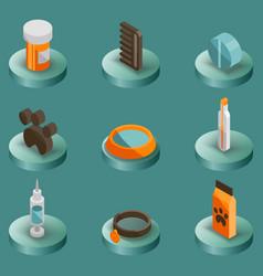 vet pharmacy color isometric icons vector image