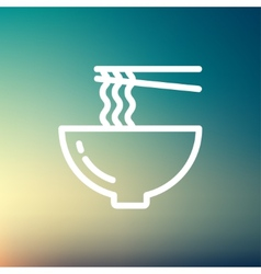 Noodles Bowl with a pair of chopsticks thin line vector image