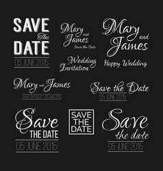 save the date logos wedding invitation vintage vector image