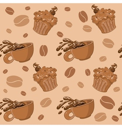 seamless coffee and cupcakes vector image vector image