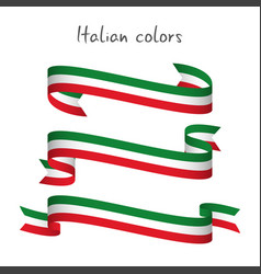 set of three ribbons with the italian tricolor vector image vector image