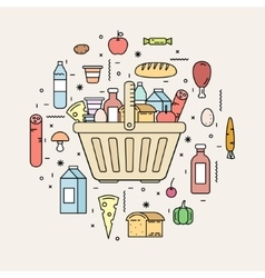 Shopping basket with food products from the store vector