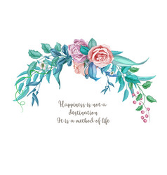 watercolor vintage rose flower wedding card vector image