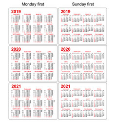 2019 2020 2021 calendars set white background vector image