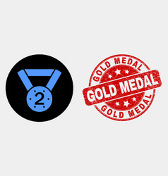 2nd place medal icon and distress gold vector image