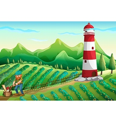 A lumberjack at the farm with a tower vector