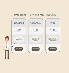 A man stands near the banner at prices and tariffs vector