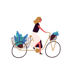 Active trendy woman riding bicycle with flower at vector