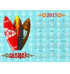 aloha kalendar blue 15 vector image vector image