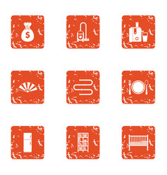 Attachment to room icons set grunge style vector