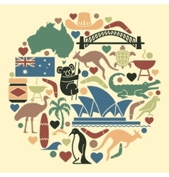 Australian icons in form a circle vector