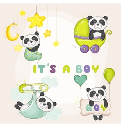 Baby panda set - for shower cards vector