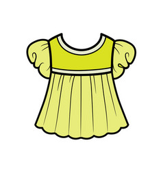 Babydoll blouse with lantern sleeves outline vector