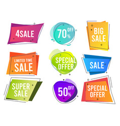 banners colored shapes trendy flat promo banners vector image