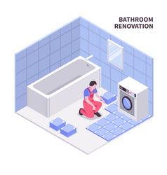 bath room repair isometric composition vector image