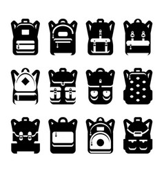 Black and white backpack silhouette set vector