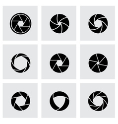 Black canera shutter icon set vector