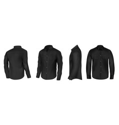 black shirt from different sides realistic vector image