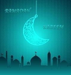 Blue Theme Ramadan Kareem Background vector