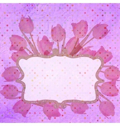 Bouquet of red tulips and a polka dot card EPS 10 vector image vector image