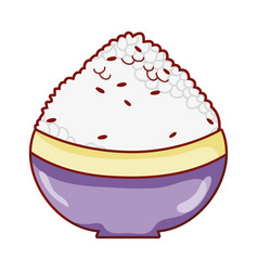 Bowl with rice food japanese menu cartoon isolated vector