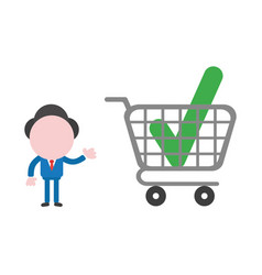 Businessman character showing check mark inside vector