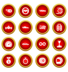 car race icons set simple style vector image
