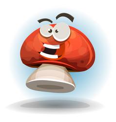Cartoon funny mushroom character vector