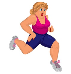 Cartoon young fat woman in pink top and running vector image
