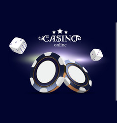 Casino poker chips and dice casino game 3d chips vector